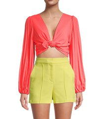 a.l.c. women's maxime crop top - neon orange - size 2