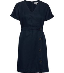 linen tencel ss dress knälång klänning blå tommy hilfiger