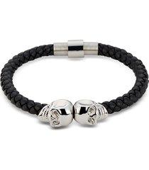 northskull designer men's bracelets, black nappa leather & rhodium twin skull men's bracelet