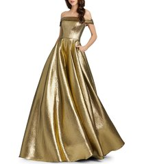 mac duggal women's off-the-shoulder metallic pleated ball gown - jet black - size 2
