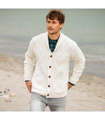 mens ardmore shawl collar cream aran sweater xxl