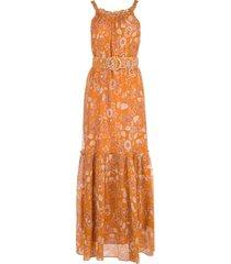 nicholas vestido com cinto e estampa floral - laranja