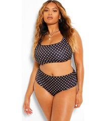 plus polka dot print high waist bikini, black