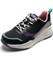 tenis lifestyle negro-morado-verde-rosa-blanco skechers chic shattering,