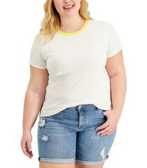 style & co plus size ribbed t-shirt, created for macy's