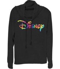 fifth sun juniors disney logo disney tie dye fill fleece cowl neck sweatshirt