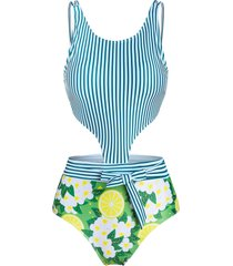 lemon striped cut out padded one-piece swimsuit