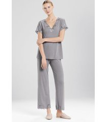 natori zen floral pajamas, women's, grey, size xs natori