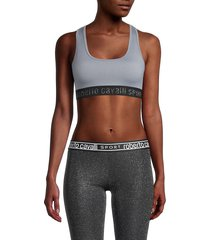 roberto cavalli sport women's lurex-accent sports bra - heather grey - size xs