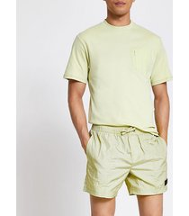 river island mens pastel tech green drawstring swim shorts