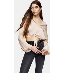 tall champagne satin tie front shirt - champagne