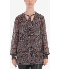 paisley tie detail blouse