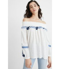 embroidered blouse boat neck - white - l