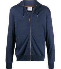 paul smith zip-up wool hoodie - blue