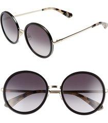 women's kate spade new york lamonica 54mm gradient lens round sunglasses - black/ gold