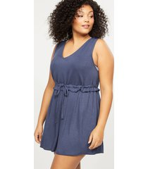 lane bryant women's french terry cover-up dress with ruffled waist 14/16 indigo