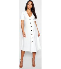 maternity horn button a line midi dress, ivory