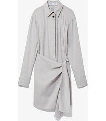proenza schouler white label linen blend long sleeve wrap dress grey 4