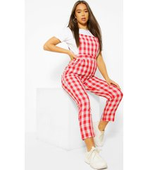 woven flannel tapered leg pinafore jumpsuit, red