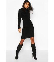 tall longline rib knit roll neck dress, black
