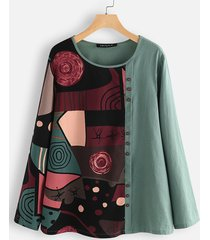 camicetta per donna manica lunga patchwork stampa etnica pulsante