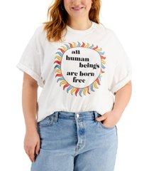 mighty fine trendy plus size cotton graphic-print t-shirt