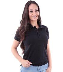 camisa polo slim meia malha com elastano preto traymon cp0723 - preto - feminino - algodã£o - dafiti