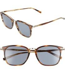 men's salvatore ferragamo 53mm square sunglasses - striped brown