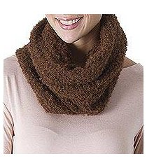 100% alpaca neck warmer, 'soft chestnut' (peru)