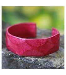 leather cuff bracelet, 'african rose' (ghana)