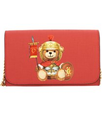 moschino couture mini bag moschino couture shoulder bag in synthetic leather with gladiator teddy print