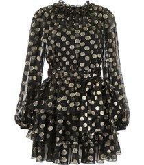 dolce & gabbana lurex polka dots silk dress