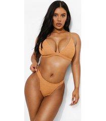 mix & match driehoekige gekreukelde bikini top, camel