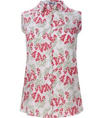 camisa mujer miniflores rosa color rojo, talla l