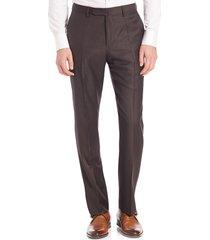 incotex benson sharkskin dress pants - dark brown - size 38