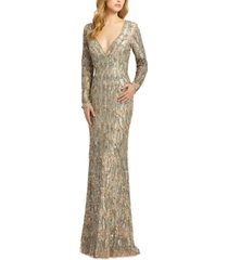 mac duggal beaded long-sleeve gown