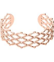 bracciale rigido small in ottone rosato con brillanti per donna