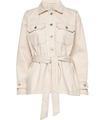 slfmay jade white denim jacket w jeansjack denimjack crème selected femme