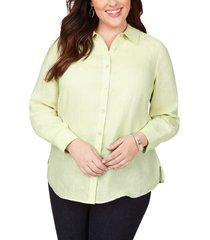 plus size women's foxcroft jordan non-iron linen chambray shirt, size 20w - green