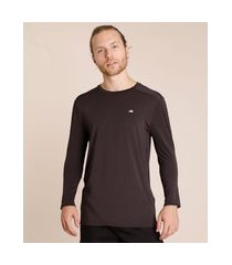 camiseta masculina esportiva ace com proteção uv50+ manga longa gola redonda chumbo