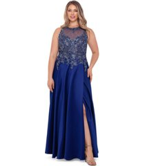xscape plus size embroidered tulip gown