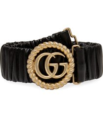 women's gucci double-g buckle stretch leather belt, size 65 - nero