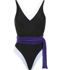 brigitte panelled swimsuit - black