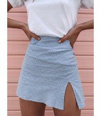 minifalda a la cadera con dobladillo con abertura calico