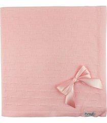manta de tricot michelle para bebê rosa risquinhos com laços..