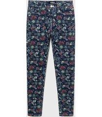 pantalón desigual azul - calce skinny