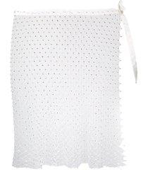 la reveche izar sheer mini skirt - white