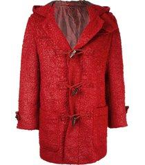 issey miyake pre-owned hooded duffle coat - red