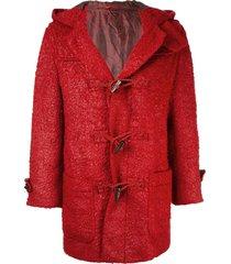 issey miyake pre-owned hooded duffle coat - red