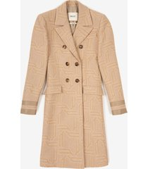 double-breasted jacquard coat beige 42
